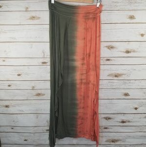 Rip Curl tie dye salmon and green maxi skirt